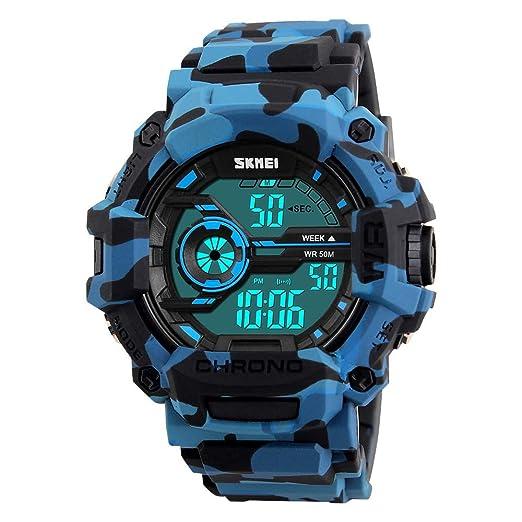 FeiWen Hombre Deportivo Digitales Relojes de Pulsera 50M Impermeable Plástico Bisel con Goma Correa LED Electrónica Multifuncional Alarma Cronógrafo Outdoor ...