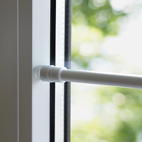 Tür- Fenster- Klemmstange Gardinenstange ohne Bohren für Scheibengardinen  oder Türvorhänge (80-120 cm, weiß)