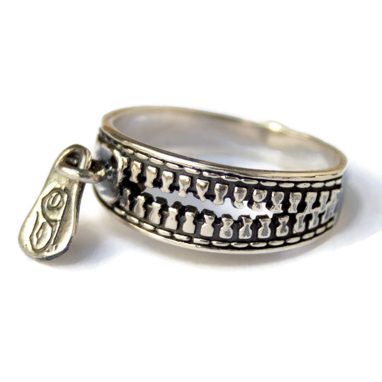 925 Sterling Silver Zipper Ring Steampunk Jewelry for Women Men Fashion Party Rings Vintage Ring Size