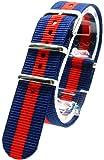 ( ネイビー/レッド 20mm ) NATO タイプ ナイロン ベルト ストラップ 腕時計 2PiS 交換マニュアル付