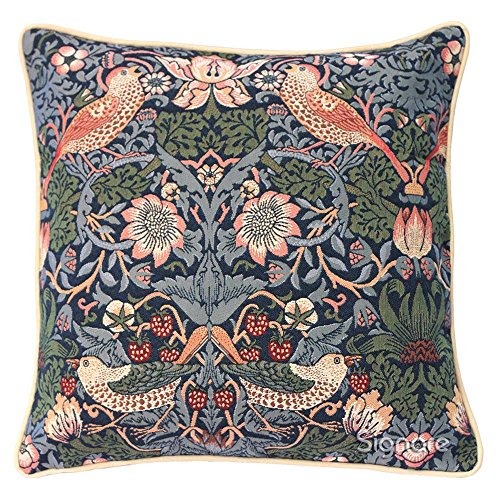 (Signare Blue Floral William Morris Cushion Cover Designer Decorative Sofa Couch Pillow | Strawberry Thief (CCOV-STBL))
