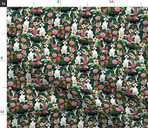 Spoonflower huksy Fabric - Husky Malamute Dogs Huskies Husky Siberian Husky Cute Dogs Florals Malamute Pet Portrait Gift by Petfriendly Printed on Basic Cotton Ultra Fabric by The Yard