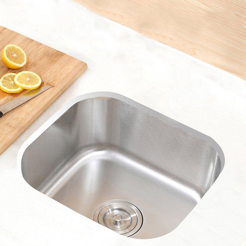 QQ 304 Edelstahl Spüle Küche Single Slot Single Becken Unter dem Becken Wasser Eimer Waschbecken ohne Überlauf 38 X 32 X 20 Cm