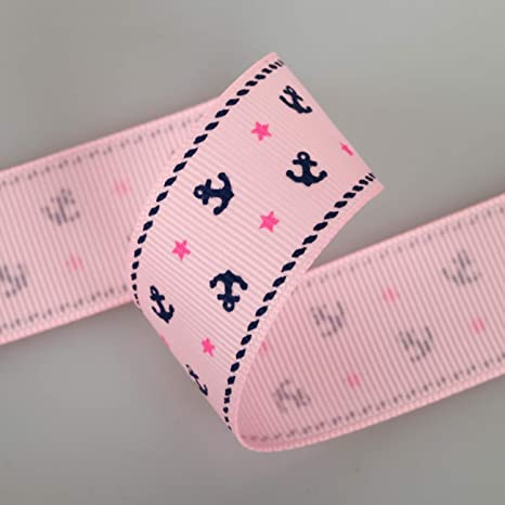 "5 yards 1/"" Pink Anchor Star Nautical Printed Grosgrain Ribbon"
