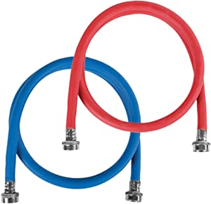 Certified Appliance Accessories Washing Machine Hose (2 Pack), Hot and Cold Water Supply Line, 4 Feet, Polyester-Reinforced EPDM, 1 Red and 1 Blue