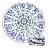 Genovega Thick Round Beach Towel Blanket - Indian Bohemian Boho Mandala Circular Circle