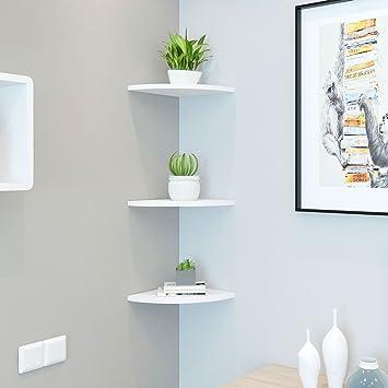 3PCS Corner Floating Wall Shelf Space-Saving White Wall-Mounted Storage Display Rack Bookshelves for Home Bedroom Living Room Office Decor
