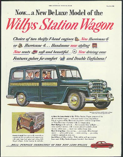 Willys Jeep Wagon - Now a New De Luxe Model of the Willys Jeep Station Wagon ad 1952