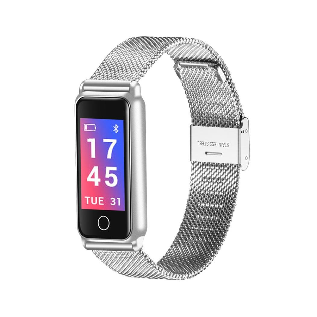 Remiel Store Stainless Steel Wrist Smart Watch Fitness Sports Blood Pressure Heart Rate Tracker (Free, Silver)