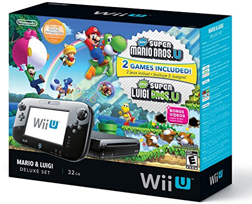 Nintendo Wii U Black Premium Pack (32GB) + New Super Mario Bros.U + New Super Luigi U (Mario & Luigi Wii U Deluxe 32gb)