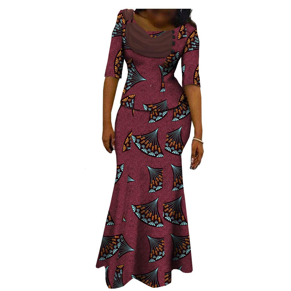 African Dresses for Women 2 Piece Crop Top+Skirt Flower Floral Fashion Culture Vintage 100% Cotton Party 243 6 2X