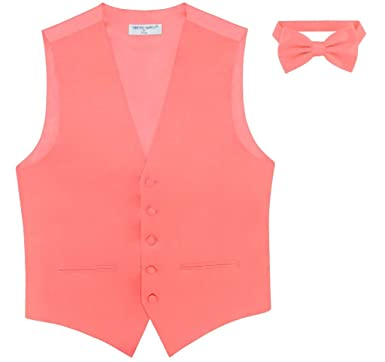 d0e2960e30e5 Mens Slim FIT Dress Vest Bowtie Solid Coral Pink Bow Tie Handkerchief Set XS
