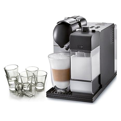 DeLonghi Lattissima plata cápsula Nespresso Espresso y máquina de capuchino con libre Juego de 6 vasos
