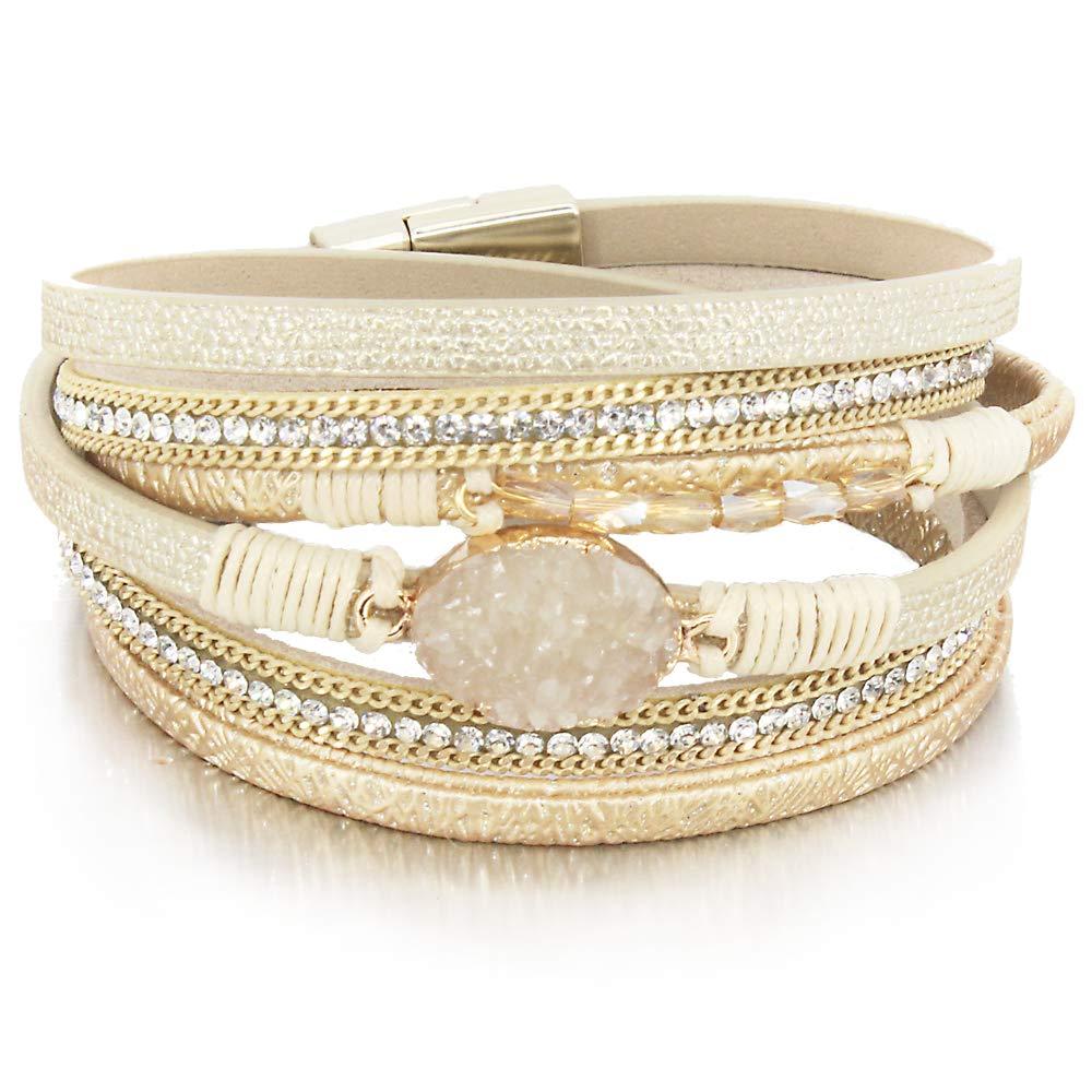FANCY SHINY Gold 2 Wrap Bracelet Boho Jewelry Cuff Bracelet Crystal Bead Bracelet Rhinestone Handmade Bangle Braided Magnetic Clasp Bracelet Multi Strand Bracelet for Women Girl Men by FANCY SHINY