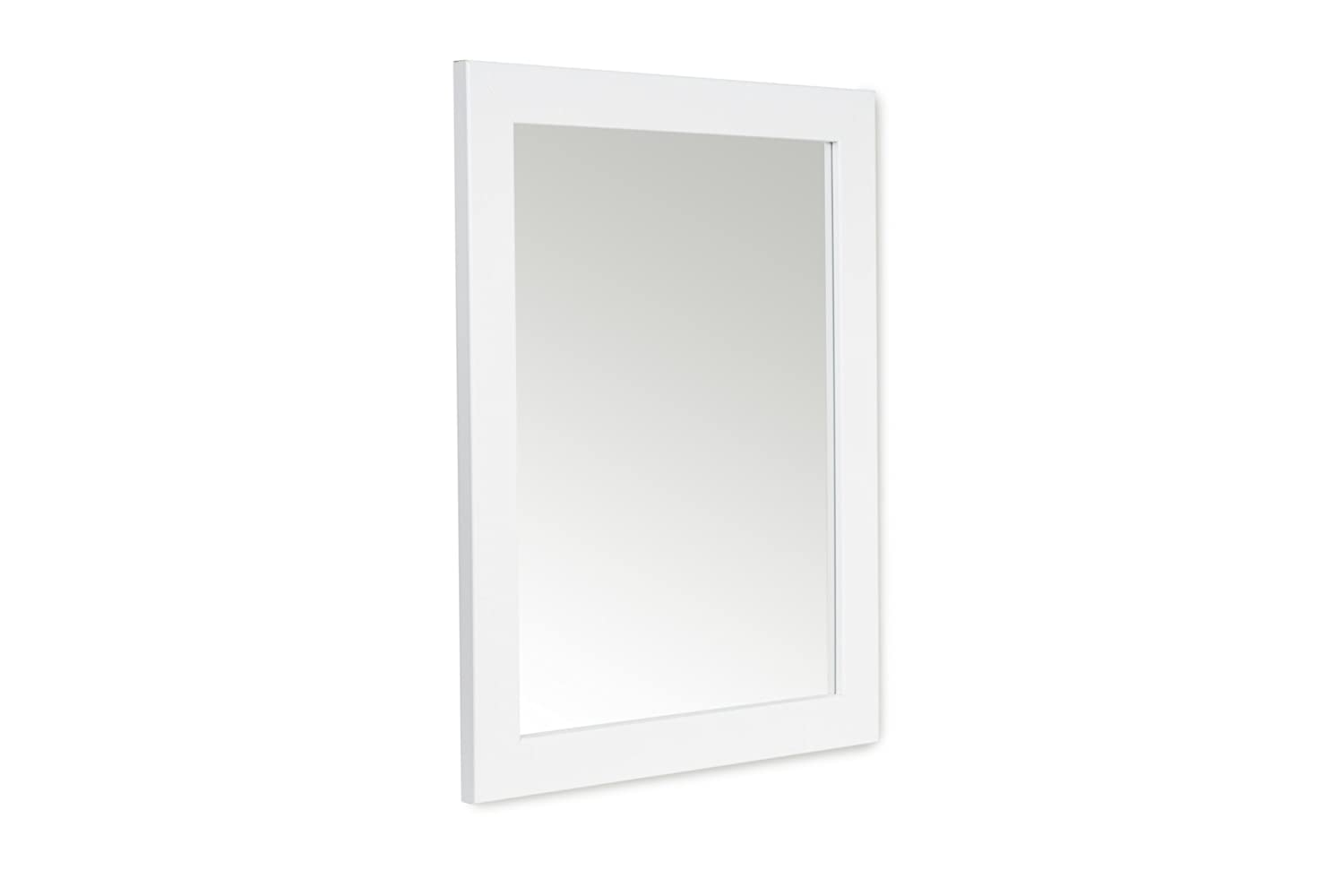 48 x 58cm White Framed Mirror with Wall Hanging Fixings