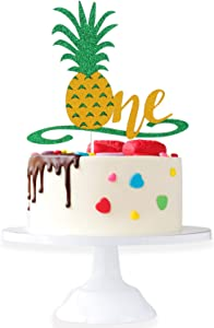 Happy Baby's 1st Birthday Party Cake Topper - Hawaii Tropical Theme Glitter Pineapple Picks Décor - Novelty Wild One Year Old Baby Shower Cupcake Decoration