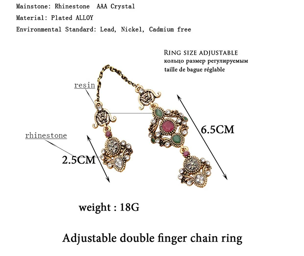 Urban Lipi Adjustable Turkish Antique Gold Color Two Finger Rings Women Red Resin Crystal Hollow Flower Vintage Jewelry