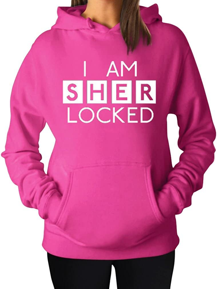 Women's I Am Sherlocked Sherlock Holmes Inspired Hoodie Hooded Sweater Large Fuschia