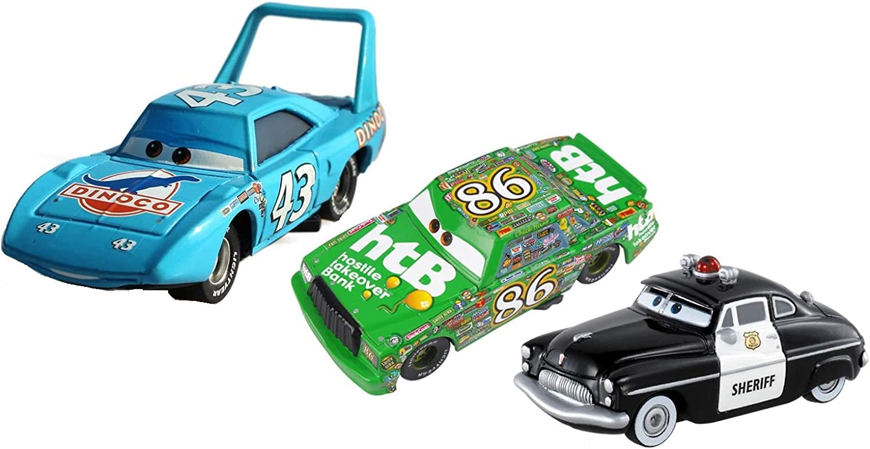 MRS Set de 3 Coches de Cars ((Rey Dinoco, Sheriff y Chick Hicks)): Amazon.es: Juguetes y juegos