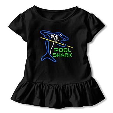 a501667e866e Amazon.com  Pool Shark Neon Sign Toddler Baby Girls  Short Sleeve Ruffle  T-Shirt  Clothing