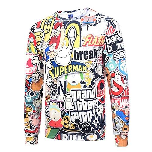 Witkeyseller Men's 3d Digital Print O-Neck Thicken Tops Outwear Sweatshirts White M