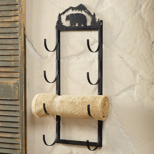Cabin Towel Racks (Bear Wall/Door Mount Rustic Towel Rack - Wilderness Bath Decor)