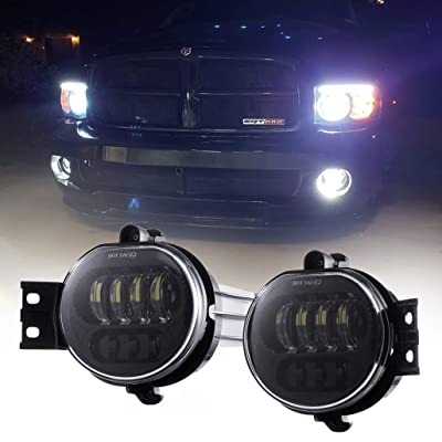 Z-OFFROAD 2pcs 63W LED Fog Lights Lamps Replacement for 2002-2008 Dodge Ram 1500 2003-2009 Ram 2500 3500 2004-2006 Durango Truck, Driver and Passenger Side - Black: Automotive