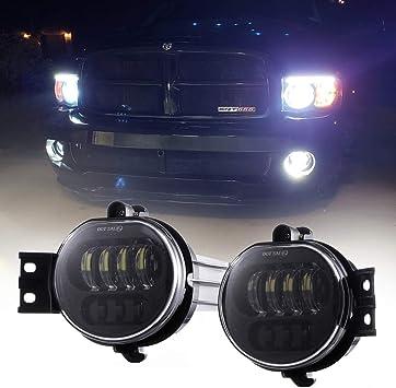 LED Fog Lights for Dodge Ram Passing Lamps Replace for 2002 2003 2004 2005 2006 2007 2008 2009 Dodge Ram 1500 2500 3500 Pickup Truck 2004-2006 Durango Truck Driver and Passenger Side-1 Pair Black