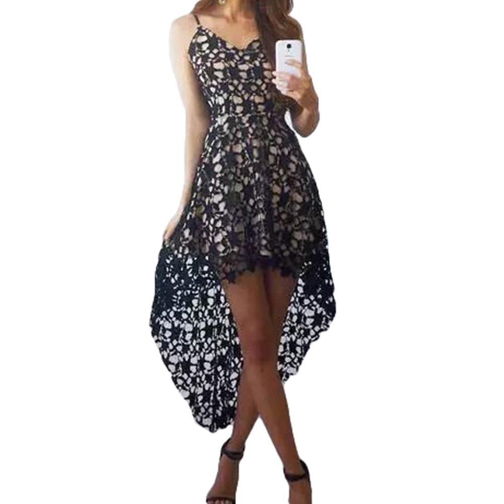 Vestidos Mujer Vestido de encaje Vestido Sling V escote sin mangas Vestidos asimétricos de color sólido Vestido de fiesta coctail Hibote: Amazon.es: Ropa y ...