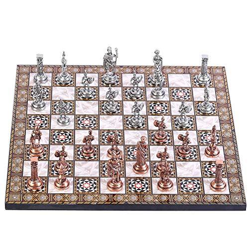 GiftHome Juego de ajedrez de metal de cobre antiguo para adultos, piezas hechas a mano y tablero de ajedrez de madera…