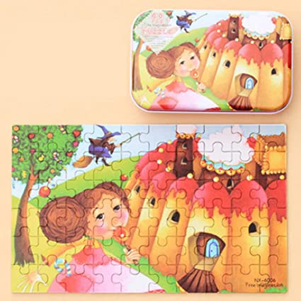 Leoie 60pcs Childrens Wooden Puzzles Baby Early Education Educational Toys Gift with Storage Box 2#