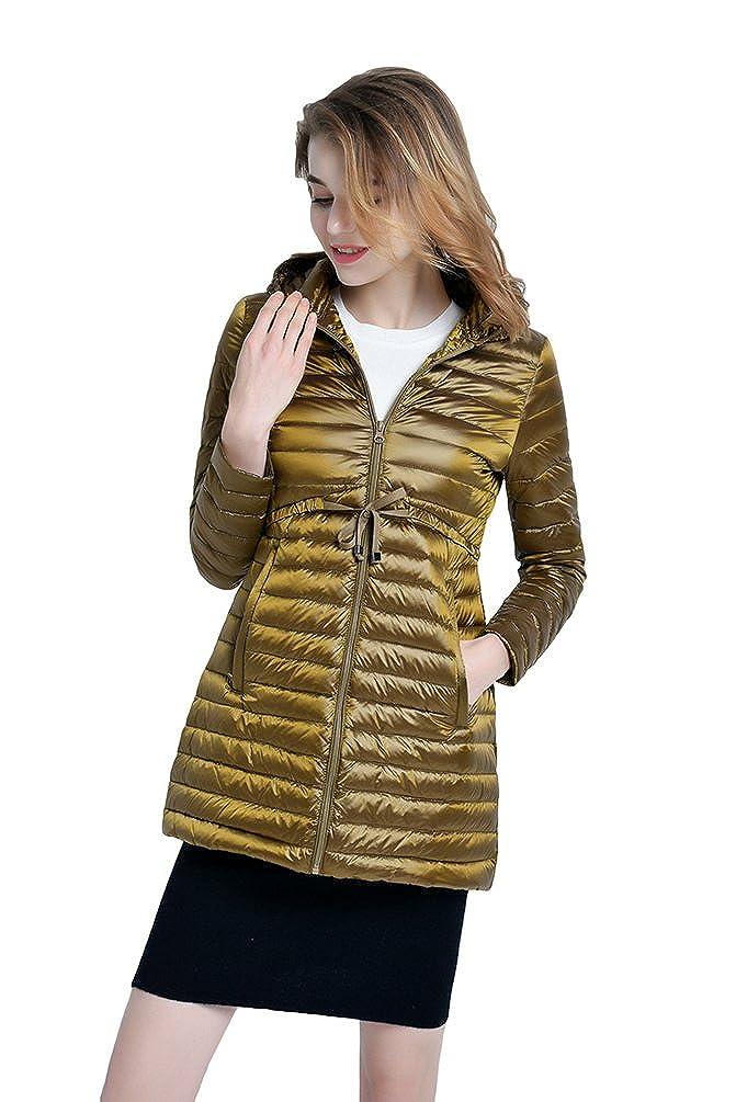 YOUJIA Damen Lang Daunenjacke mit Kapuze Packbar Ultra Leicht Gewicht Mantel Daunenmantel Parka