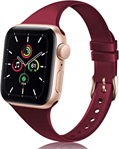TSAAGAN Slim Silicone Band Compatible for Apple Watch Band 38mm 42mm 40mm 44mm, Sport Thin Soft Narrow Replacement Strap Wristband Accessory for iWatch Series 5/4/3/2/1 (Wine Red, 38mm/40mm)