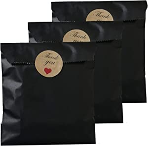 Party Favor Bag 5 * 7 inch, 100 pcs Food Safe Kraft Paper and Ink, Natural (Biodegradable), Vivid Colored Candy Cookie Buffet Paper Bags, Flat Paper Bag with 96 pcs 1.5 inch Stickers.(Solid Black)