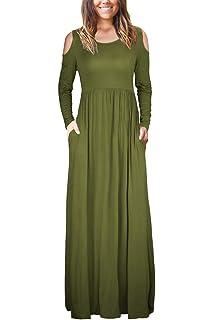 1608a28fcecdf irene inevent Sleeveless/Long Sleeve Maxi Dress Women Loose Plain Cold  Shoulder Casual Long Dresses