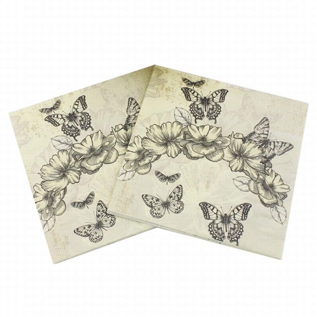 Karidesh Schmetterlings-Cartoon-Muster Original Zellstoff-Serviette, ideal für Brunch, Catering-Events, Dinner Parties, Buffets, Frühlingshochzeiten oder den täglichen Gebrauch, 5er Pack