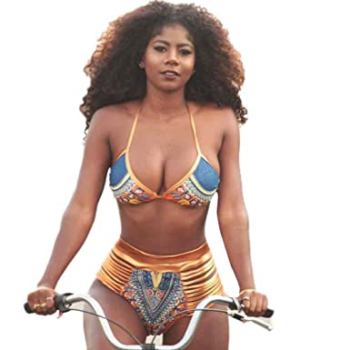 Official Website African Print Swimsuits Plus Size Women Fashion Push-up Padded Bra Beach Bikini Set Swimsuit Beachwear Swimwear #tx4 Swimming