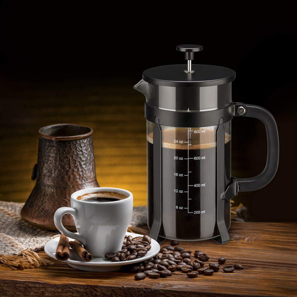 Chrider French Press Coffee Maker (34 oz 8 Cups) Coffee Press with 304 Stainless Steel Stand and 4 Filter Screens, Precise Scale Easy to Clean Durable Heat Resistant Borosilicate Glass - Black by Chrider (Image #8)