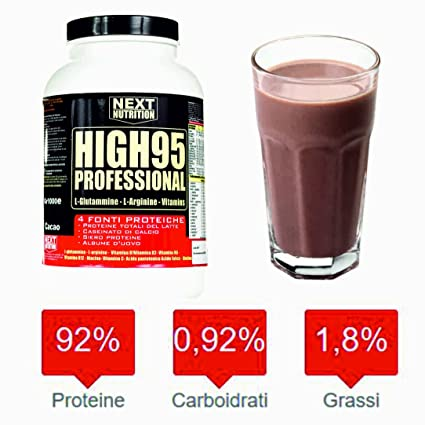 92% proteína de 4 fuentes de proteínas (leche - Proteína total, - caseinato