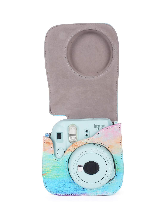Leebotree Custodia per Fujifilm Instax Mini 9 Fotocamera istantanea Rosa Magia Protettiva in Pelle Soft PU con cinturino a spalla e tasca per Fujifilm Instax Mini 8 8+//Mini 9