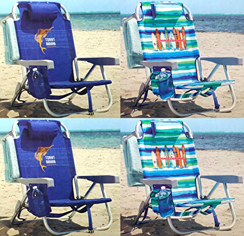 Tommy Bahama Backpack Chair - Insulated Cooler Pouch - 5 Positions (2 Blue + 2 Ocean Stripes)
