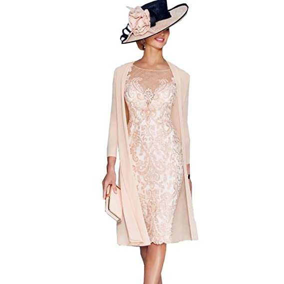 229f7de68cd Lace Pink Mother of The Bride Dresses with Jacket Tea Length Formal Gowns   Amazon.co.uk  Clothing