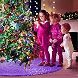 Yuboo Purple Christmas Tree Skirt, 48 Inch Sequin