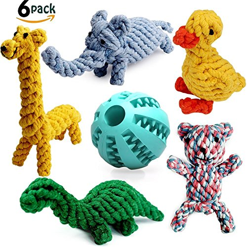 Nesoul Dog Toys, Animal Design Cotton Rope Toys with Rubber Treat Ball, Puppy Pet Play Chew Training Teething Toys for Small to Medium Sized Dogs(Set of 6) (6 (Animal Puzzle Plush Dog Toy)