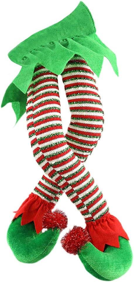 OTentW Christmas Elf Stuffed Legs Plush Stuffed Feet with Shoes Stuck in Christmas Tree Décor Christmas Tree Decorative Ornament