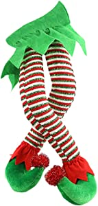 OTentW Christmas Elf Stuffed Legs Plush Stuffed Feet with Shoes Stuck in Christmas Tree Décor Christmas Tree Decorative Ornament