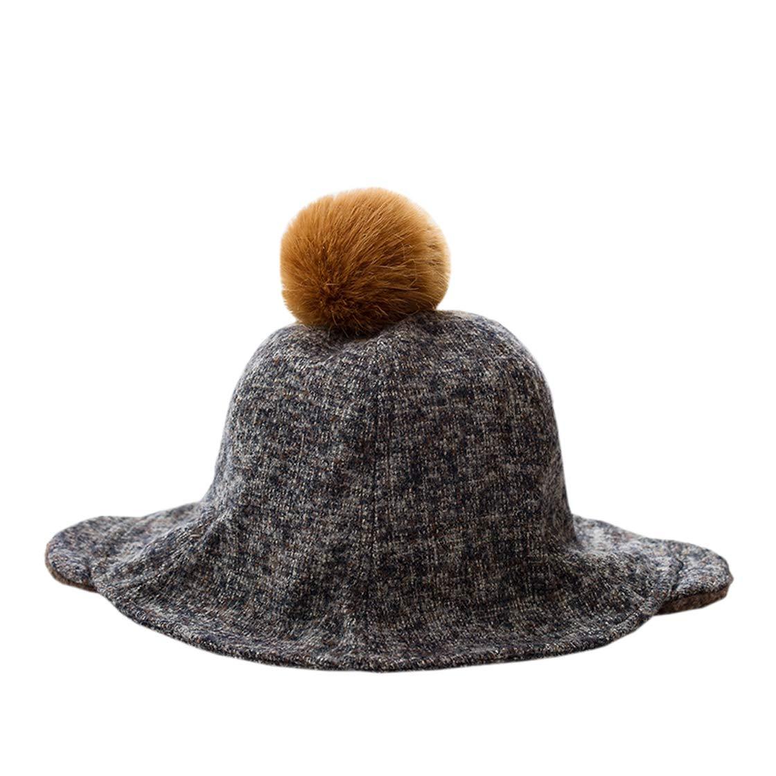 ACVIP Little Girl's Pom Ear Muffs Bomber Style Winter Bucket Hat (Coffee)