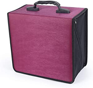 Vicoter 400 Large Capacity CD/DVD Case, CD Case Holder Portable DVD Storage Organizer with Hand Strap Easy to Carry (Rose)