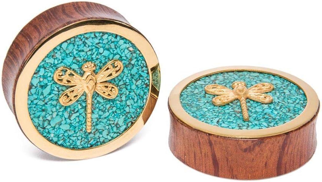 Ear plug wood Ear plug turquoise flower