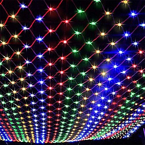 FULLBELL LED Net Lights 9.84ft x 6.56ft 200 LED Lights 11 Modes with Controller Fairy String Lights Flashing for Outdoor Party Christmas Xmas Wedding Home Garden Decorations Net Mesh Tree-Wrap ()